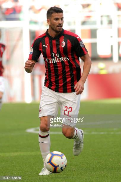 Mateo Musacchio of AC Milan during the serie A match between AC Milan and Chievo Verona at Stadio Giuseppe Meazza on October 7 2018 in Milan Italy