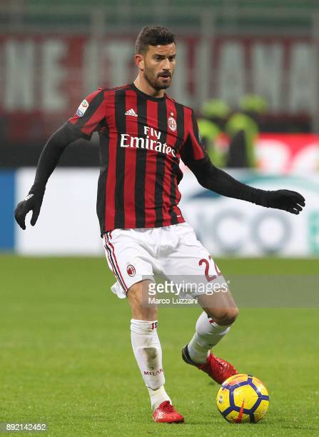 Mateo Musacchio of AC Milan in action during the Serie A match between AC Milan and Bologna FC at Stadio Giuseppe Meazza on December 10 2017 in Milan...
