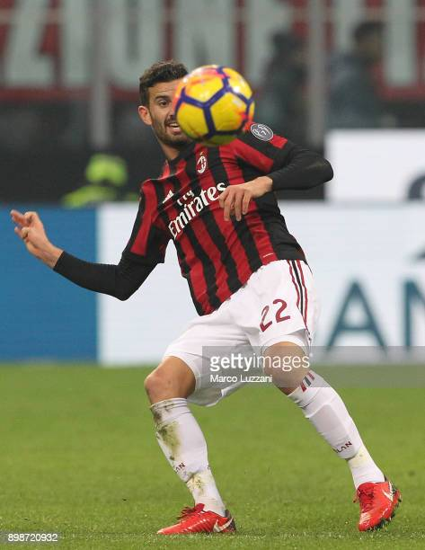Mateo Musacchio of AC Milan in action during the serie A match between AC Milan and Atalanta BC at Stadio Giuseppe Meazza on December 23 2017 in...