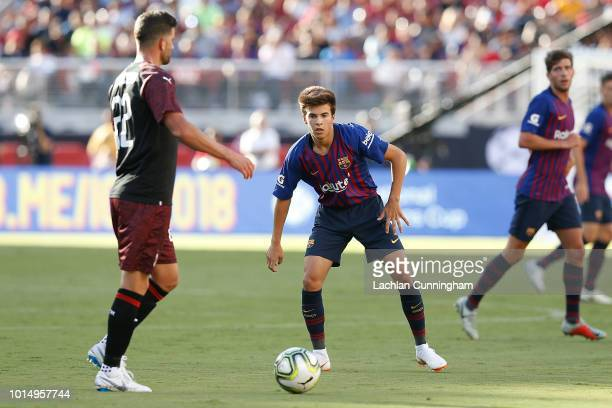 Mateo Musacchio of AC Milan is defended by Ricky Puig of FC Barcelona during the International Champions Cup match at Levi's Stadium on August 4 2018...