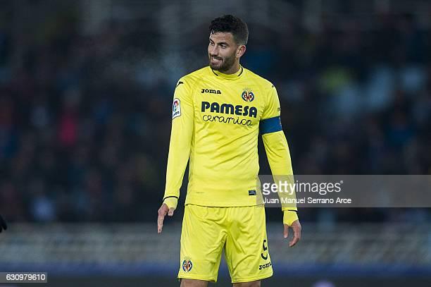 Mateo Musacchio of Villarreal CF reacts during the Copa del Rey Round of 16 first leg match between Real Sociedad de Futbol and Villarreal CF at...