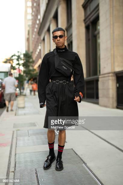 Mateo Palacio is seen on the street attending Men's New York Fashion Week wearing Heron Preston Vetements Balenciaga Yohji Yamamoto on July 9 2018 in...