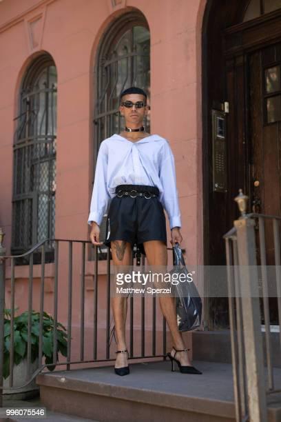 Mateo Palacio is seen on the street attending Men's New York Fashion Week wearing Vetements, Prada, CDG on July 10, 2018 in New York City.