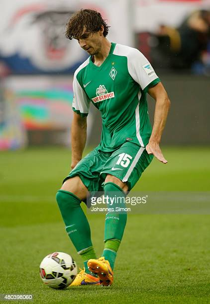 Mateo Pavlovic of Bremen in action during the preseason final match between SV Werder Bremen and Valencia CF as part of the Audi Quattro Cup 2015 at...