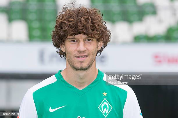 Mateo Pavlovic poses during the official team presentation of Werder Bremen at Weserstadion on July 10 2015 in Bremen Germany