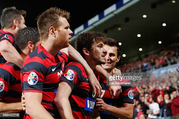Mateo Poljak of the Wanderers celebrates scoring a goal during the Asian Champions League semi final leg 2 match between the Western Sydney Wanderers...