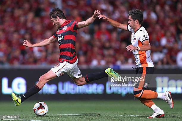 Mateo Poljak of the Wanderers shoots for goal during the round 18 A-League match between the Western Sydney Wanderers and Brisbane Roar at Pirtek...