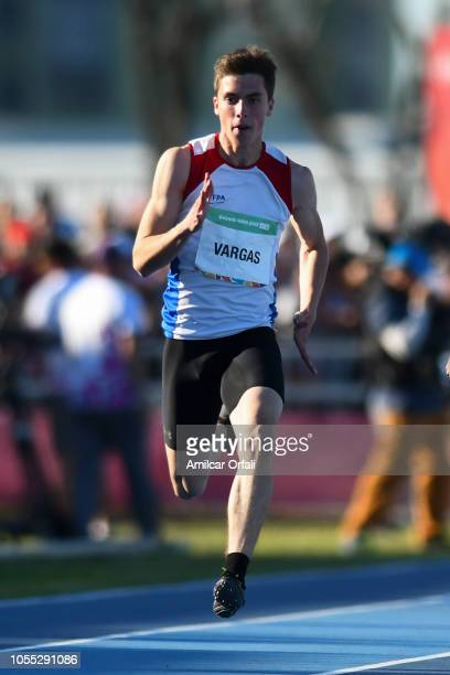 Mateo Vargas of Paraguay competes in the Men's Long Jump Stage 2 Heat 4 during day 9 of the Buenos Aires Youth Olympics Games at Youth Olympic Park...