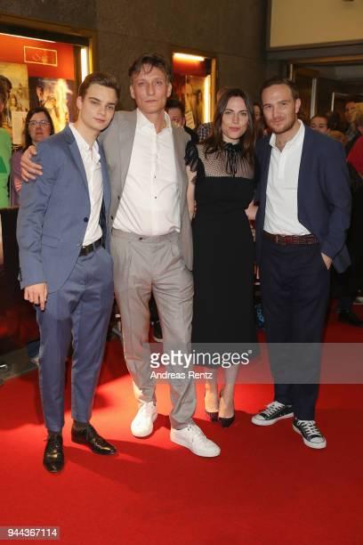 Mateo Wansing Lorrio Oliver Masucci Antje Traue and Frederick Lau attend 'Spielmacher' Premiere at Lichtburg on April 10 2018 in Essen Germany