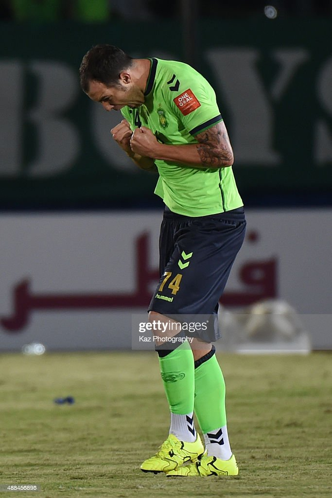 Mateos Urko Vera of Jeonbuk Hyundai Motors celebrates the 2nd goal with 2 minutes to go during the AFC Champions League quarter final match between Gamba Osaka and Jeonbuk Hyundai Motors ]at Expo '70 Stadium on September 16, 2015 in Osaka, Japan.