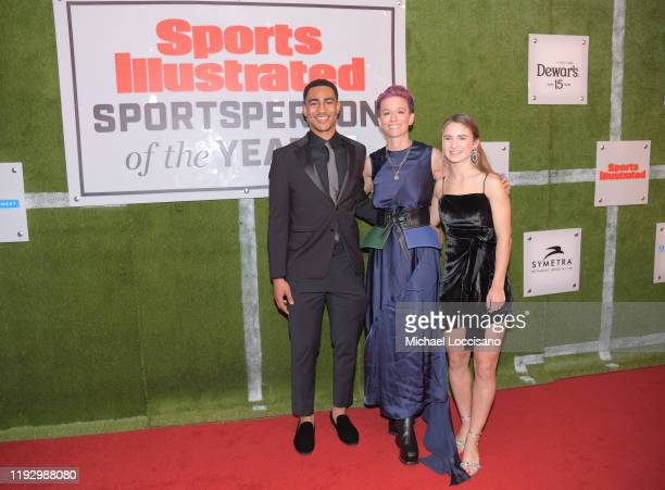 2019 Mater Dei QB Bryce Young Professional Soccer Player Megan Rapinoe and Sports Illustrated Kids SportsKid of the Year Ally Sentnor attend the 2019...