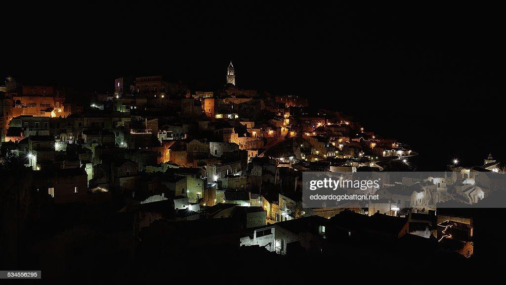 Matera by night : Foto stock