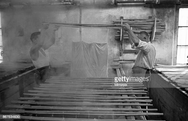 Material being dyed at an unnamed Milan cotton mill circa 1955