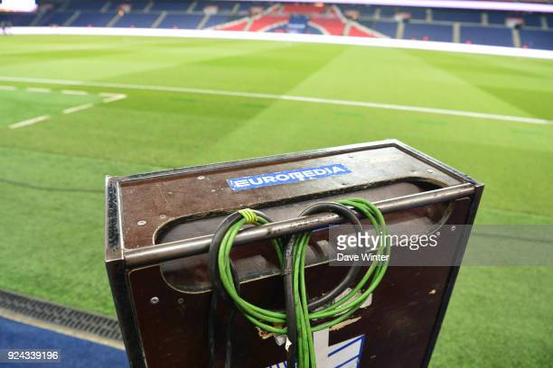 Material belonging to Euromedia who provide the broadcast facilities for the tv channels before the Ligue 1 match between Paris Saint Germain and...