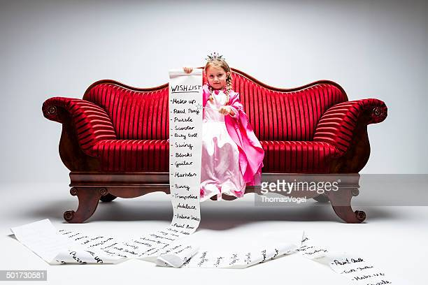 material girl -princess wish list humor child sofa consumerism - list stock pictures, royalty-free photos & images