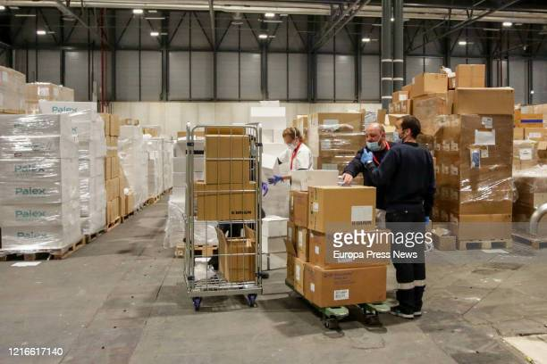 Material is seen been prepared at pavilion 10 at the campaign hospital of IFEMA established to help during the infection admitting coronavirus...