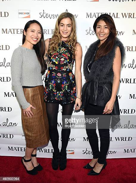 Material Wrld Co-Founder, Jie Zheng, DJ Chelsea Leyland and Material Wrld Co-Founder Rie Yano attend the Material Wrld Fashion Trade-In Card Launch...