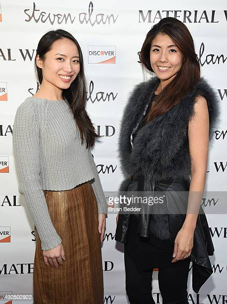 Material Wrld Co-Founders, Jie Zheng and Rie Yano attend the Material Wrld Fashion Trade-In Card Launch Event at Steven Alan Chelsea Store on October...