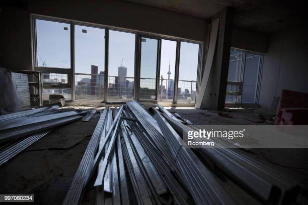Materials sit on the floor of a unit during construction of the GWL Realty Advisors Livmore luxury apartment building in Toronto Ontario Canada on...