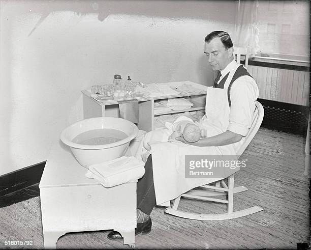 Maternity Center, 1 East 57th Street, conducts individual classes for father who would learn the correct way of bathing their babies. The classes,...