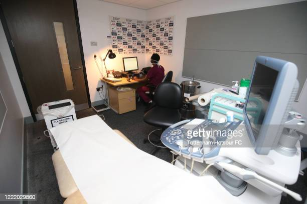 Maternity scanning takes place in the flash interview rooms at Tottenham Hotspur Stadium on April 29, 2020 in London, England.