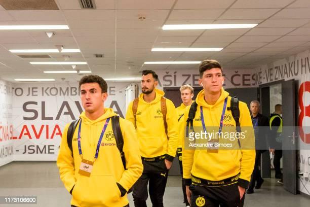 Mateu Morey Eric Oelschlaegel and Leonardo Balerdi of Borussia Dortmund arrive at the stadium prior to the Group F UEFA Champions League between...