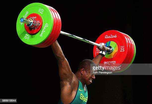 Mateus Filipe Gregorio Machado of Brazil competes during the Men's 105kg Group B Weightlifting event on Day 10 of the Rio 2016 Olympic Games at...
