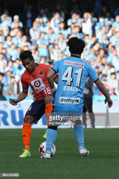 Mateus of Omiya Ardija and Akihiro Ienaga of Kawasaki Frontale compete for the ball during the JLeague J1 match between Kawasaki Frontale and Omiya...