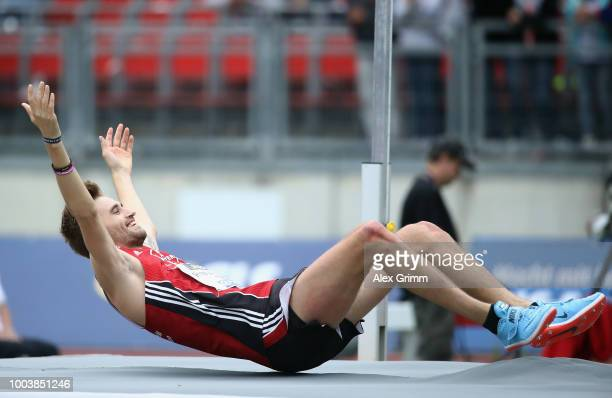Mateus Przybylko of TSV Bayer 04 Leverkusen celebrates after winning the men's high jump final during day 3 of the German Athletics Championships at...
