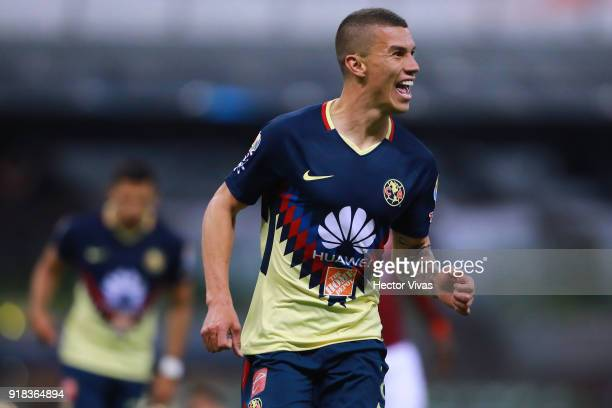 Mateus Uribe of America celebrates after scoring the third goal of his team during the 7th round match between America and Monarcas as part of the...