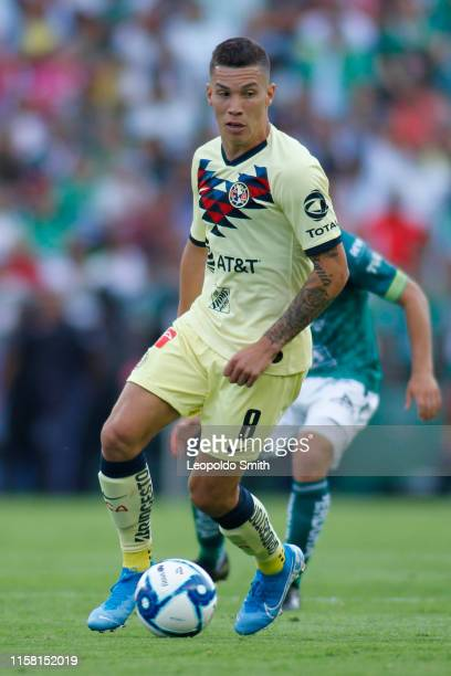 Mateus Uribe of America drives the ball during the 2nd round match between Leon and America as part of the Torneo Apertura 2019 Liga MX at Leon...