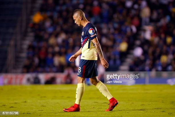 Mateus Uribe of America leaves the field after being expelled during the quarter finals first leg match between Cruz Azul and America as part of the...