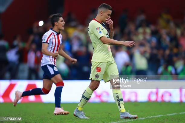 Mateus Uribe of America reacts after missing a penalty kick during the 11th round match between America and Chivas as part of the Torneo Apertura...