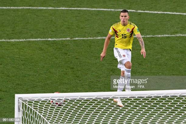 Mateus Uribe of Colombia misses his team's fourth penalty in the penalty shoot out during the 2018 FIFA World Cup Russia Round of 16 match between...