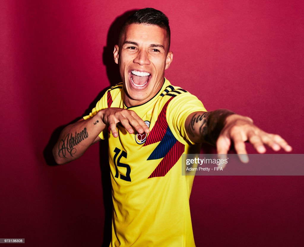 Mateus Uribe of Colombia poses for a portrait during the official FIFA World Cup 2018 portrait session at Kazan Ski Resort on June 13, 2018 in Kazan, Russia.