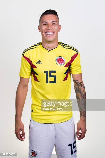 Mateus Uribe of Colombia poses for a portrait during the official FIFA World Cup 2018 portrait session at Kazan Ski Resort on June 13 2018 in Kazan...