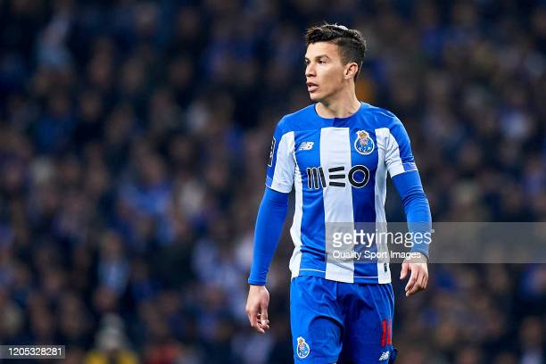 Mateus Uribe of FC Porto looks on during the Liga Nos match between FC Porto and SL Benfica at Estadio do Dragao on February 08 2020 in Porto Portugal