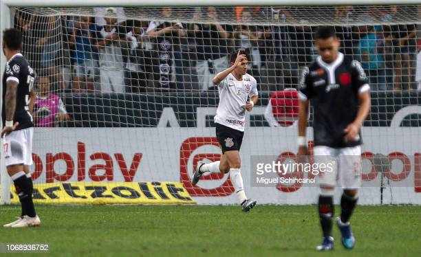 Mateus Vital Corinthians celebrates after scoring the opening goal during a match between Corinthians and Vasco da Gama for the Brasileirao Series A...