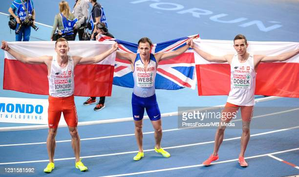 Mateusz Borkowski, Jamie Webb, Patryk Dobek pose for the pictures during the second session on Day 3 of European Athletics Indoor Championships at...