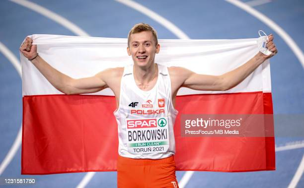 Mateusz Borkowski of Poland poses for the pictures after 800m final during the second session on Day 3 of European Athletics Indoor Championships at...