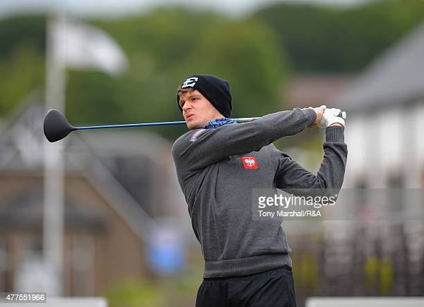 Mateusz Gradecki of Poland plays his first shot on the 1st tee during The Amateur Championship 2015 Day Four at Carnoustie Golf Club on June 18 2015...