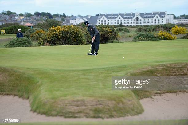 Mateusz Gradecki of Poland putts on the 13th green during The Amateur Championship 2015 Day Four at Carnoustie Golf Club on June 18 2015 in...