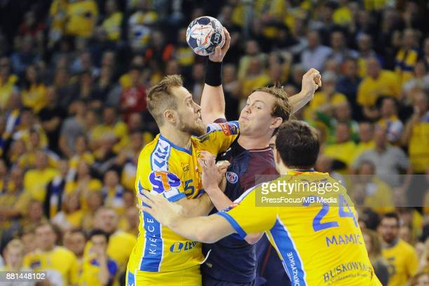 Mateusz Jachlewski Sander Sagosen Marko Mamic during the EHF Men's Champions League Game between PGE Vive Kielce and PSG Handball on November 26 2017...