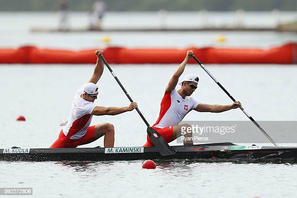 Mateusz Kaminski of Poland and Michal Kudla of Poland compete in the Men's Canoe Double 1000m on Day 15 of the Rio 2016 Olympic Games at the Lagoa...