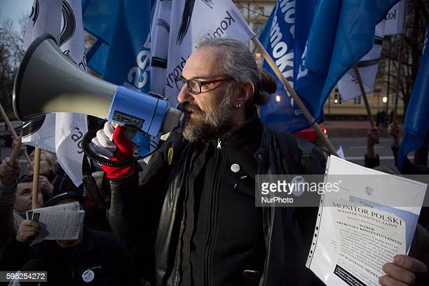 Mateusz Kijowski founder of Committee for the Defence of Democracy movement during antigovernment demonstration in Warsaw on March 10 2016