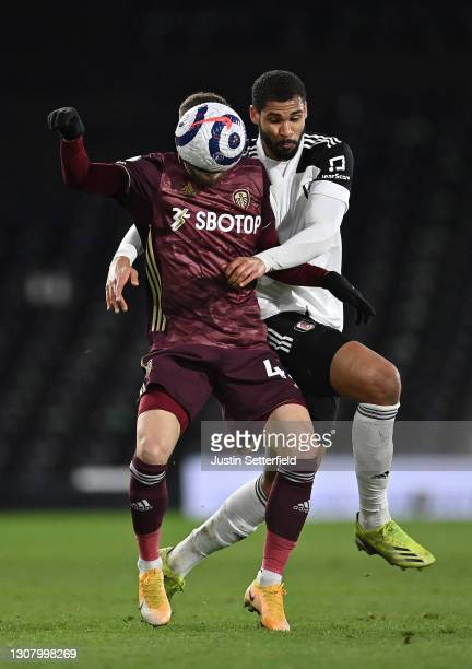 Mateusz Klich of Leeds United battles for possession with Ruben Loftus-Cheek of Fulham during the Premier League match between Fulham and Leeds...