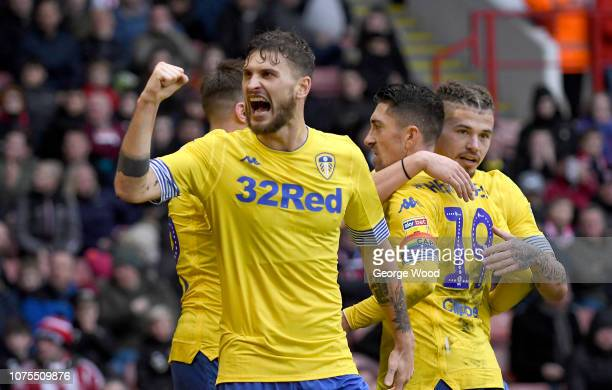 Mateusz Klich of Leeds United celebrates after Pablo Hernandez scored the opening goal during the Sky Bet Championship match between Sheffield United...