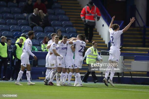 Mateusz Klich of Leeds United celebrates after scoring a goal to make it 1-1 during the Sky Bet Championship match between Sheffield Wednesday v...
