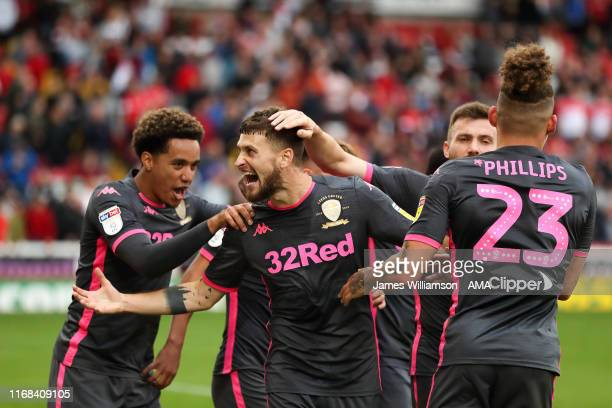 Mateusz Klich of Leeds United celebrates after scoring a goal to make it 0-2 during the Sky Bet Championship match between Barnsley and Leeds United...