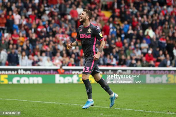 Mateusz Klich of Leeds United celebrates after scoring a goal to make it 02 during the Sky Bet Championship match between Barnsley and Leeds United...